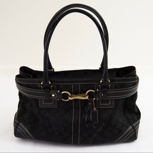 Coach Black Signature Canvas Tote Bag Purse